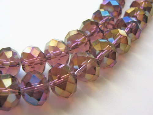 Topaz 11x14mm faceted rondelle glass bead
