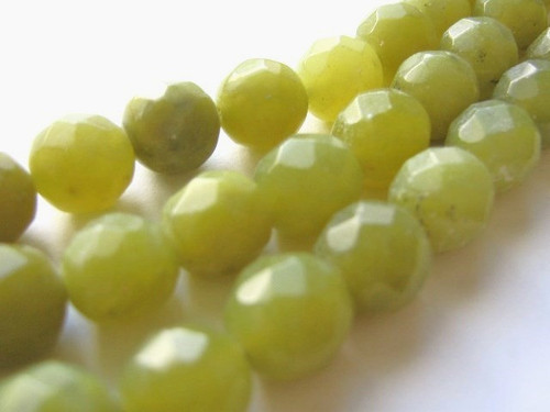 Olive jade faceted round gemstone bead