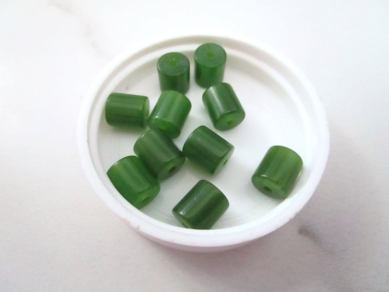 Green tube vintage lucite beads