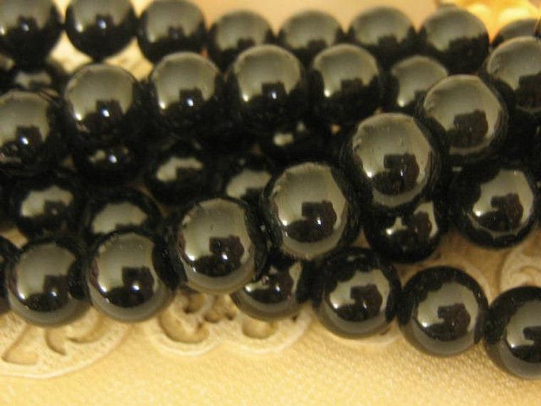 Black 4mm round glass beads