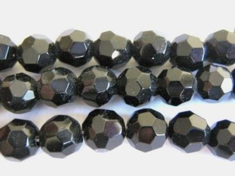 Black 10mm faceted round glass beads