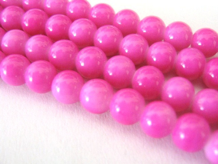 6mm round pink glass beads