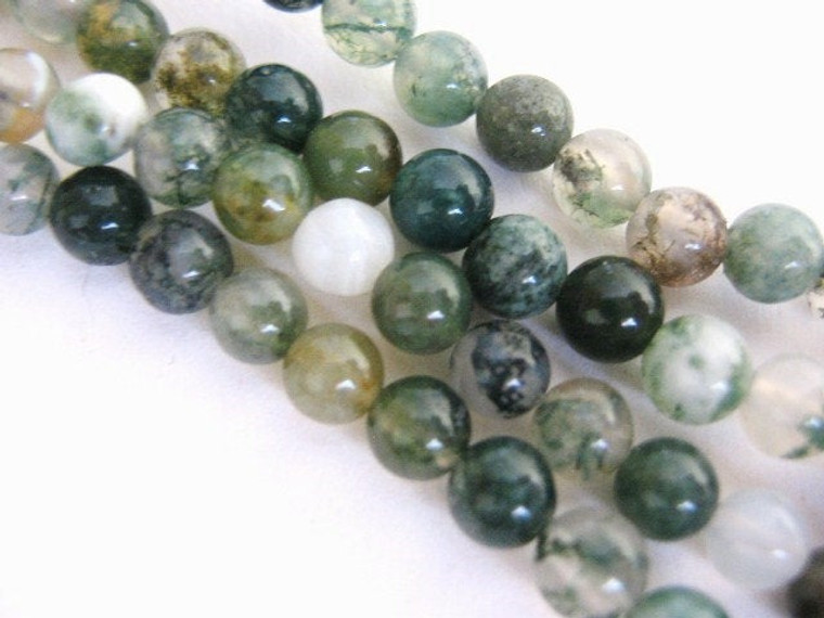 "4mm Moss Agate Round Beads Green Gemstone 16"" Strand"