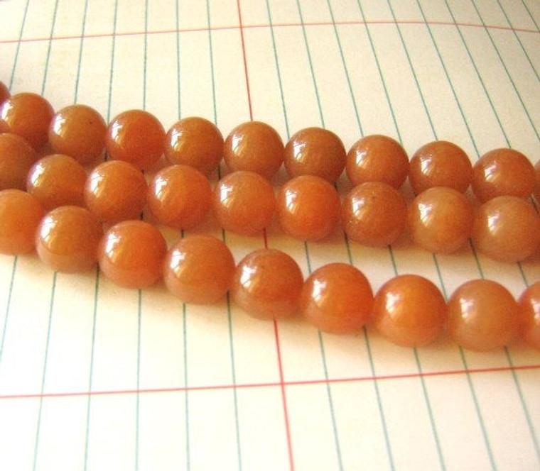 "10mm Red Aventurine Round Beads Burnt Orange Gemstone 15"" Strand"