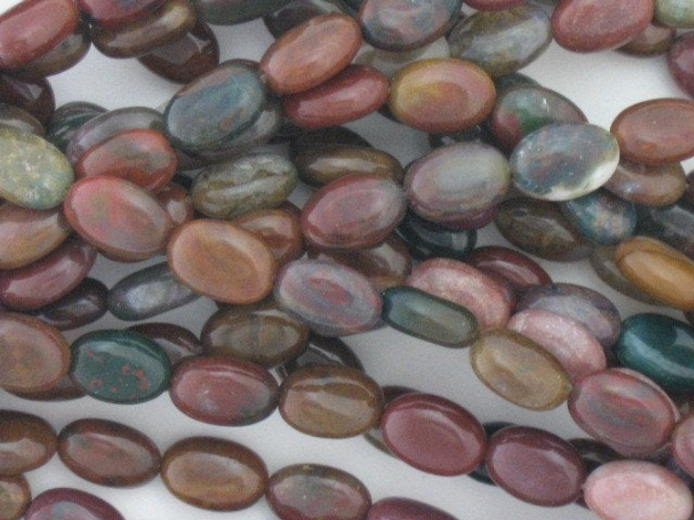 "Indian Agate Bead 12x9mm Flat Oval Gemstone 16"" Strand"