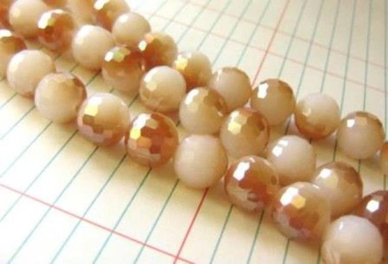 Orange White 12mm Faceted Round Glass Beads