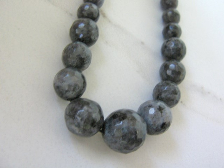 Larvikite 7-14mm faceted round gemstone beads