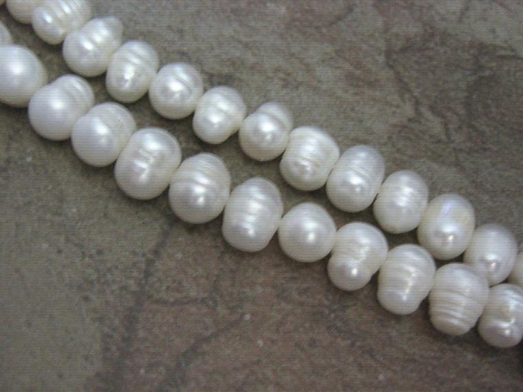 "White Freshwater Pearl Beads 10mm Potato 16"" Strand"