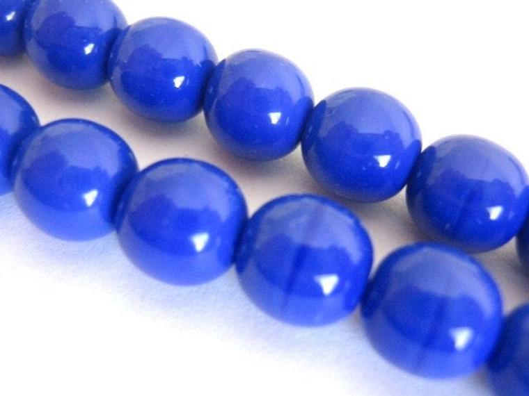 opaque blue 6mm round Czech glass bead