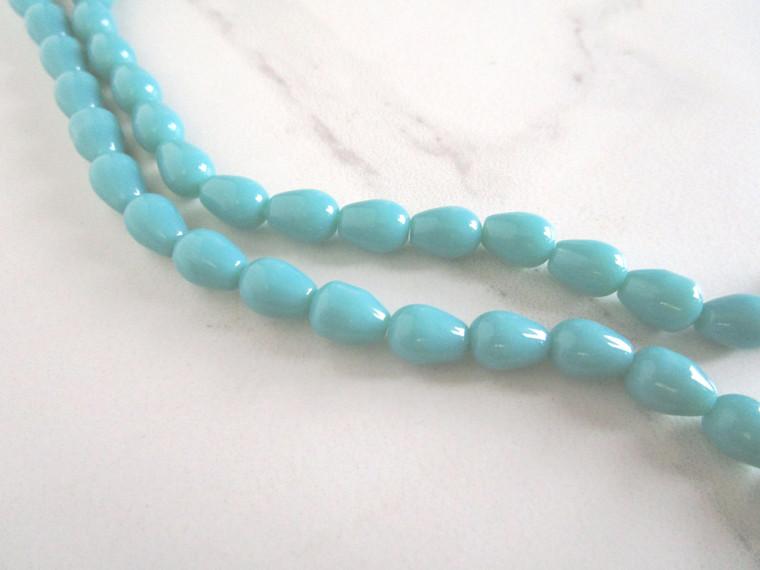 "Opaque Blue 11x8mm Teardrop Glass Beads Drops 13"" Strand"