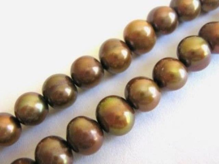 Freshwater Pearl Beads 7mm Potato Copper Peacock Brown Full Strand, Bead Supply