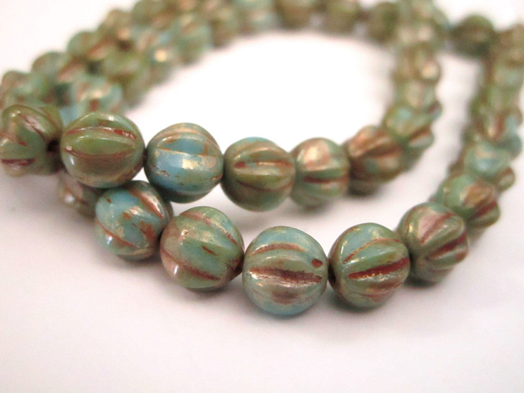 turquoise picasso 6mm melon Czech glass bead