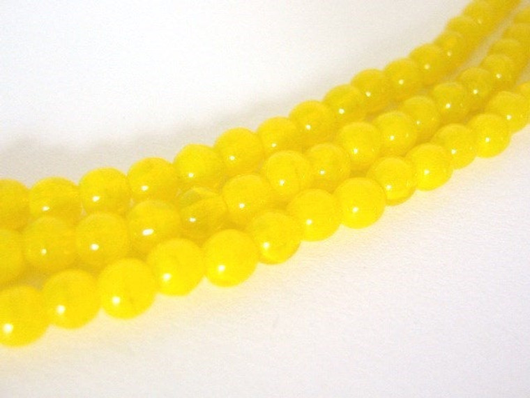 yellow 4mm round Czech glass bead