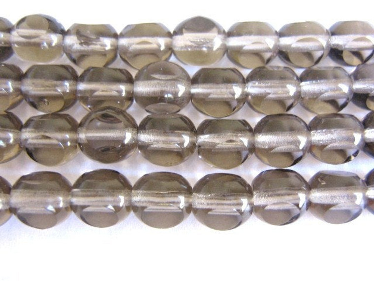 gray 8mm triangle cut Czech glass bead