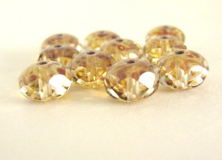 clear picasso 9x6mm faceted rondelle Czech glass bead