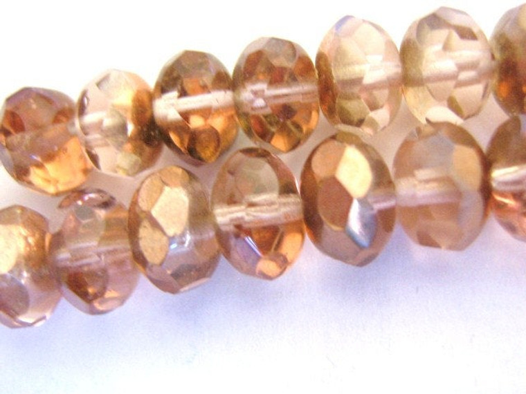 Pink capre 9x6mm faceted rondelle Czech glass bead