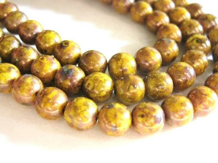 yellow bronze picasso 6mm round Czech glass bead
