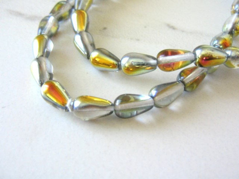 Vitrail 9x6mm teardrop Czech glass beads