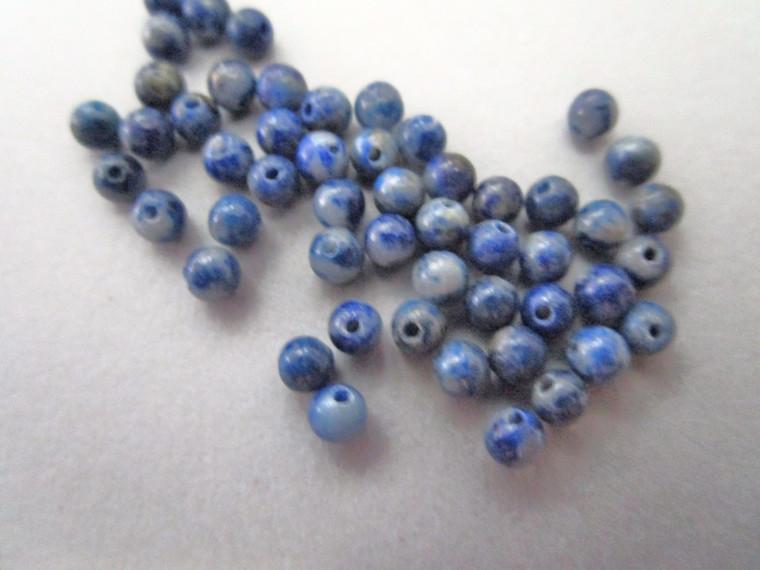 Lapis lazuli 3mm round gemstone bead