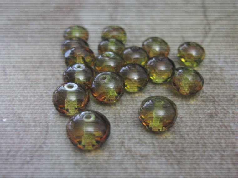 Green brown 9x6mm faceted rondelle Czech glass beads