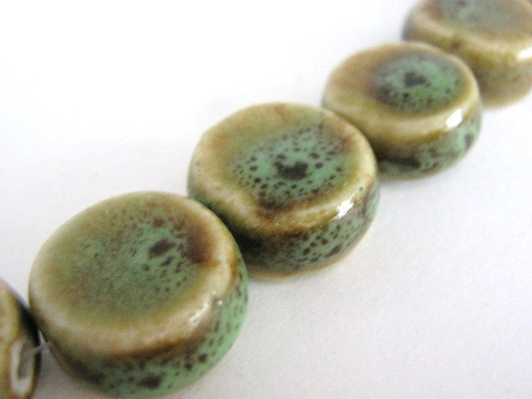 Honey Green Brown 16mm Coin Porcelain Beads Flat Round
