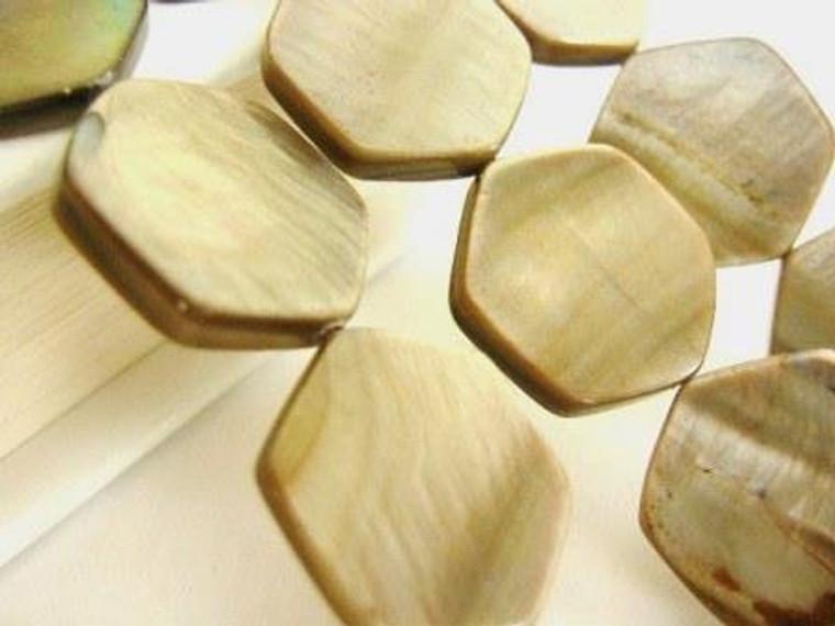 Brown Shell Bead 18mm Hexagon