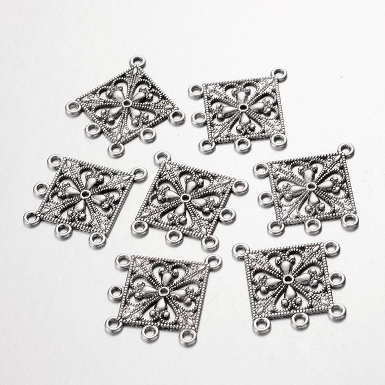 Flower Chandelier Earring Settings 33x37mm Antique Silver Finish Diamond Pendants