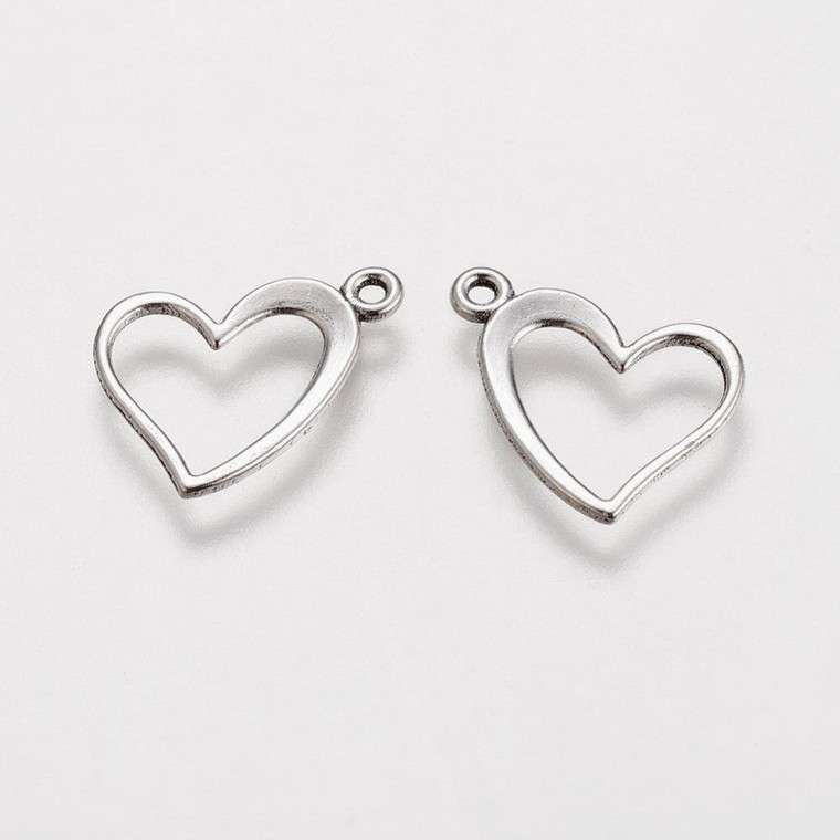 Open Heart Charms 13x15mm Antique Silver Finish Jewelry Findings