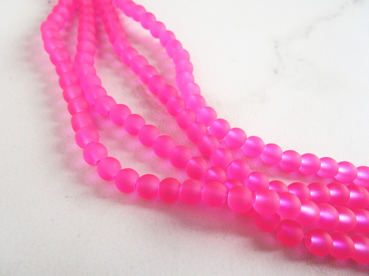 Frosted neon pink 6mm round sea glass beads