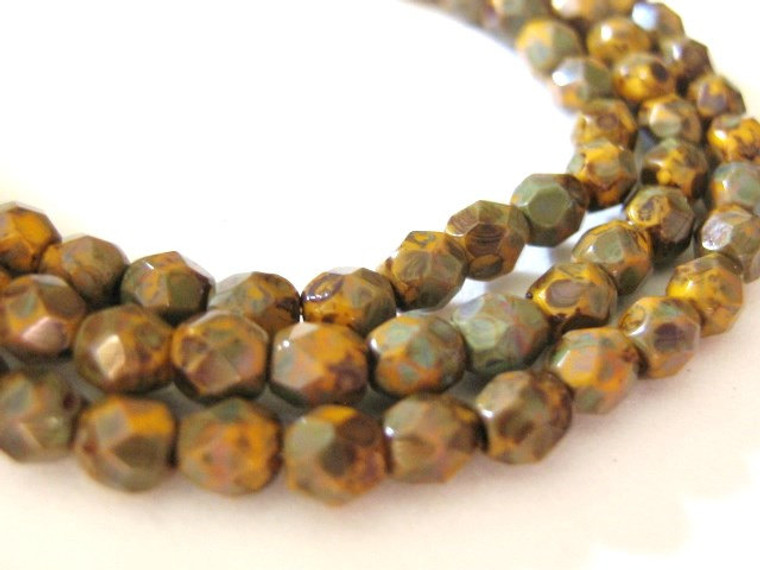 Yellow picasso 4mm faceted round Czech glass beads