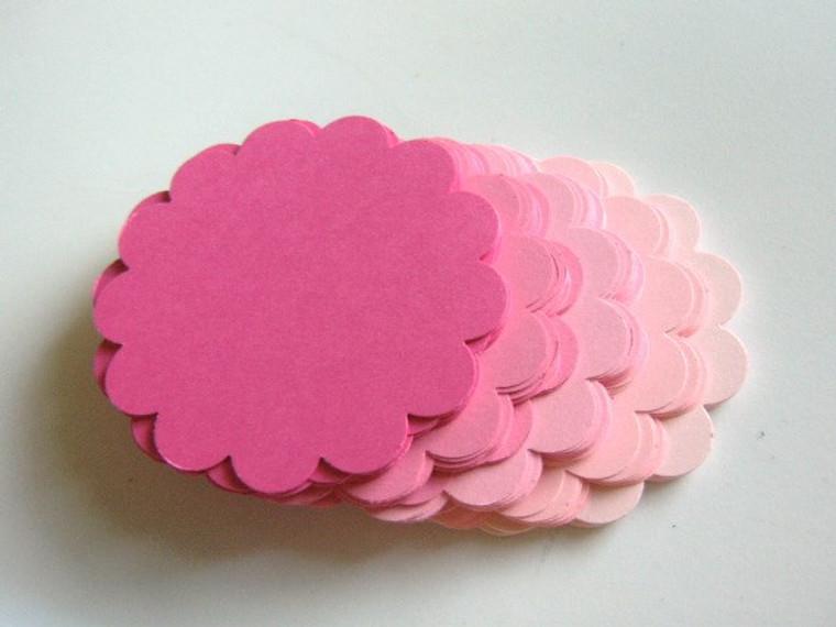 Pink 2.5 inch scallop circle die cuts