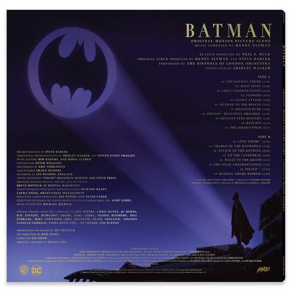 DANNY ELFMAN: Batman (1989 Original Motion Picture Score) LP