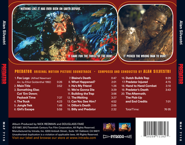 ALAN SILVESTRI: Predator (Original Motion Picture Soundtrack) CD