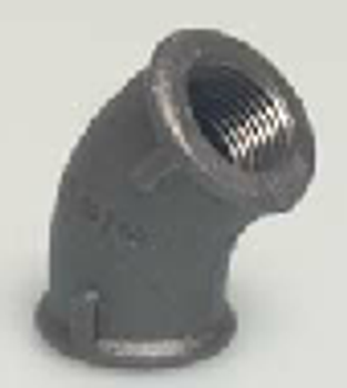 Black Iron Threaded 45° Elbow
