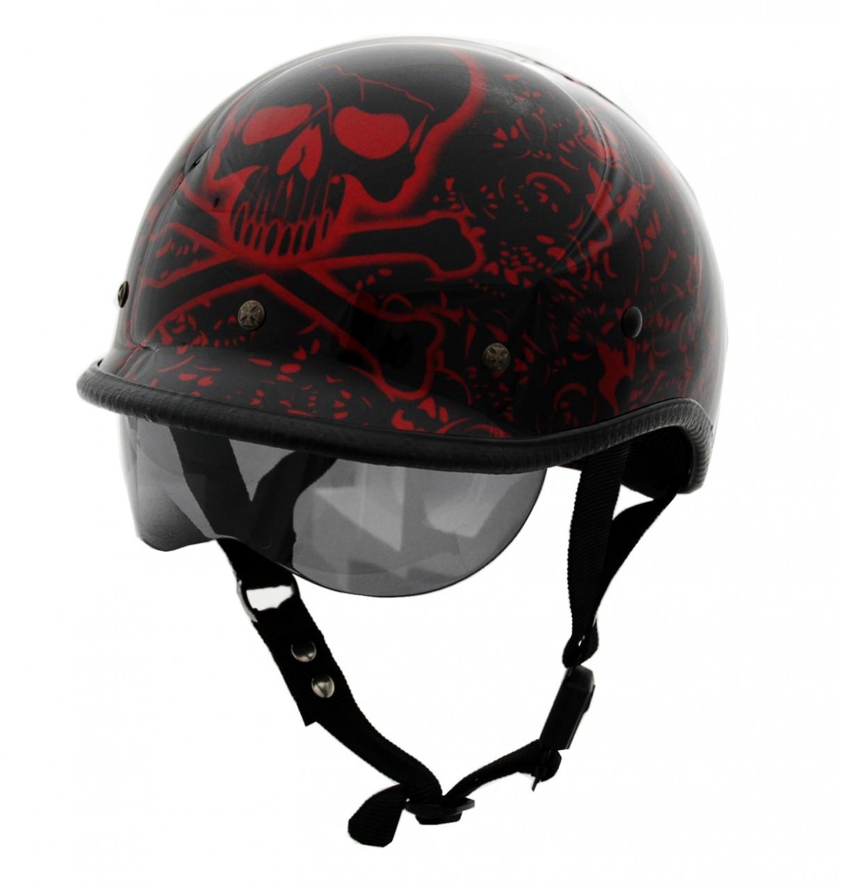 d803142548c DOT Polo Jockey BoneYard Red Motorcycle Helmet