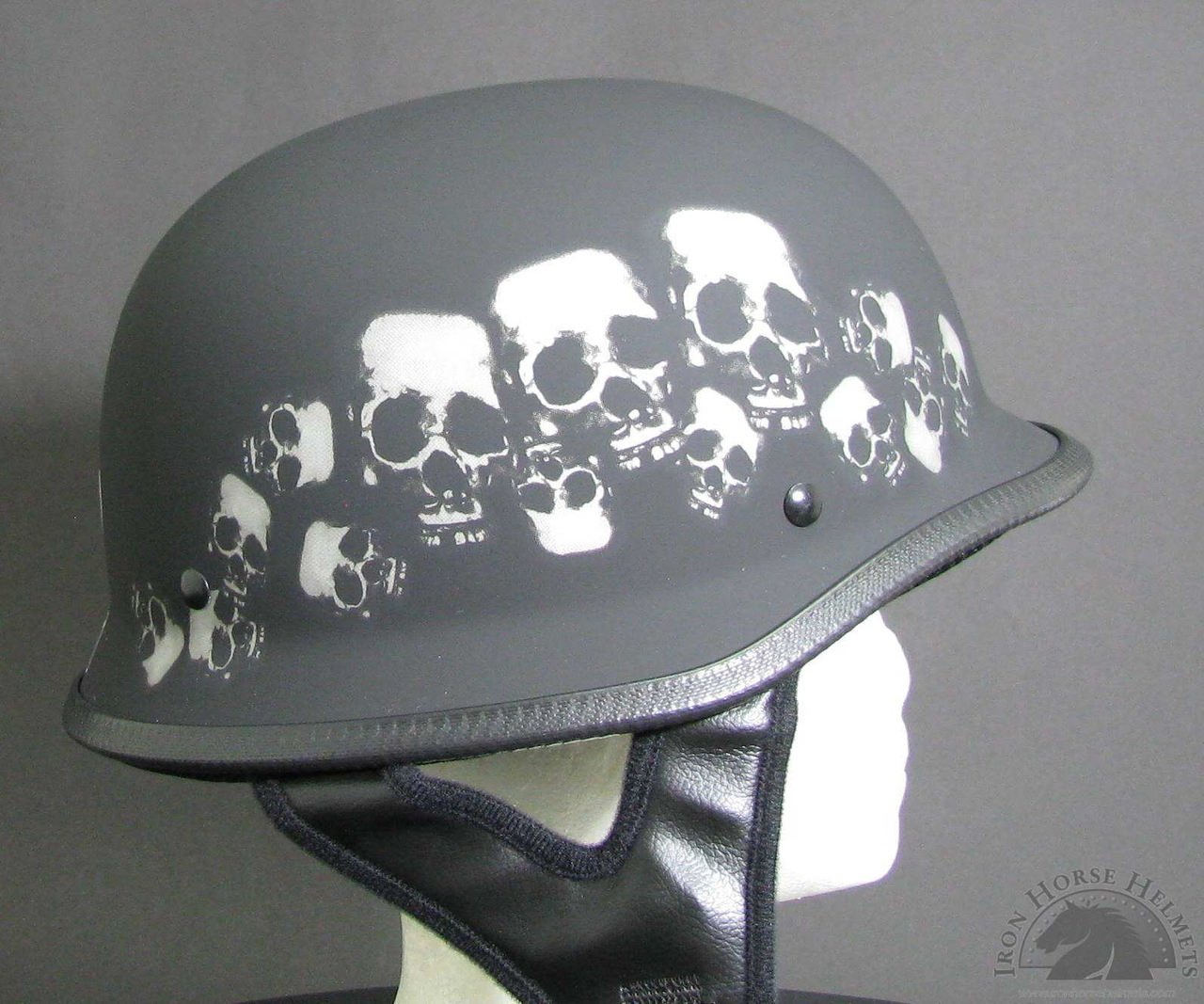 Hot Leathers DOT Approved Stencil Skull Helmet Black, XX-Large