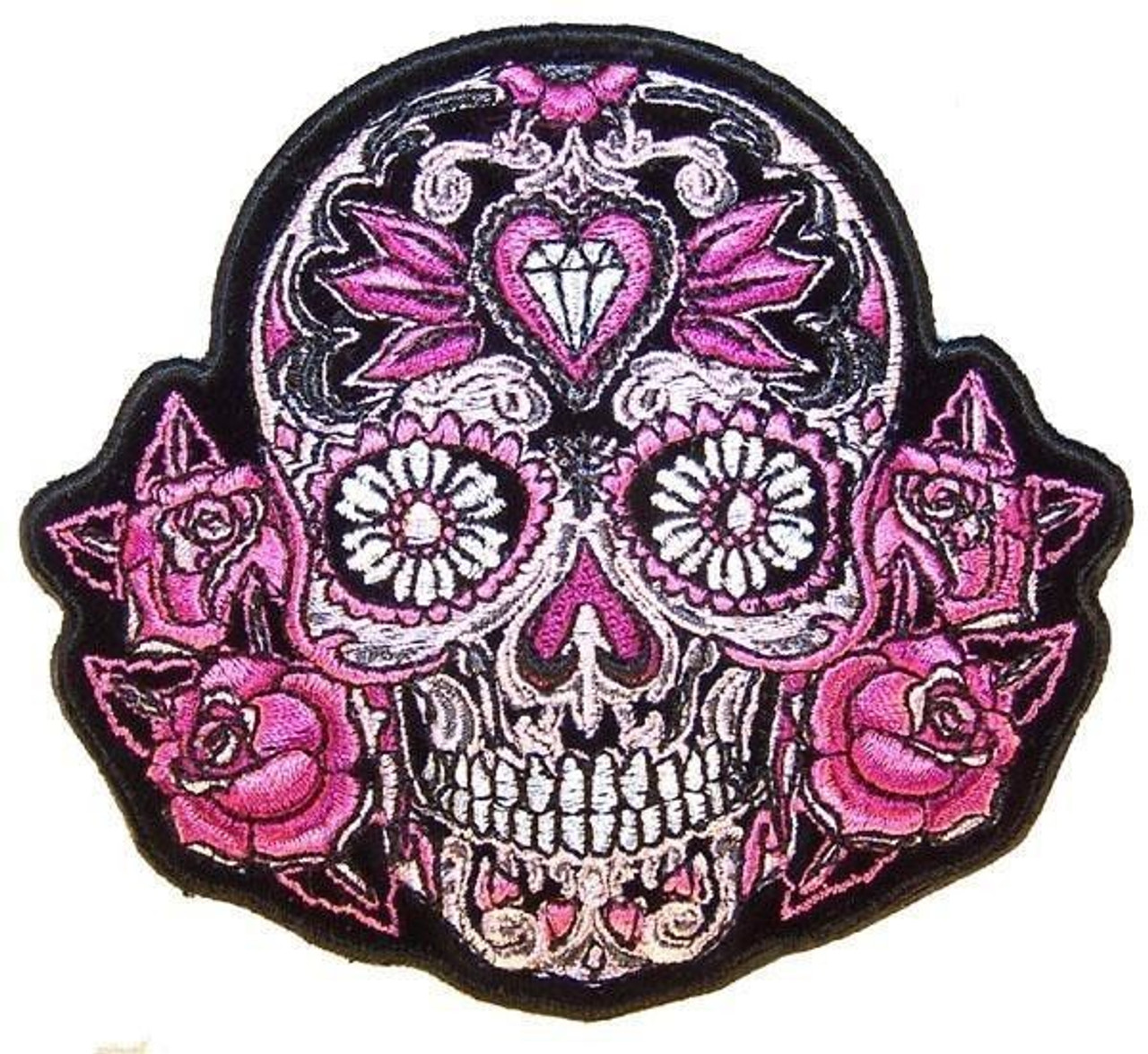 02bd06e5d Black Sugar Skull With Pink Roses   Women's Back Patches<