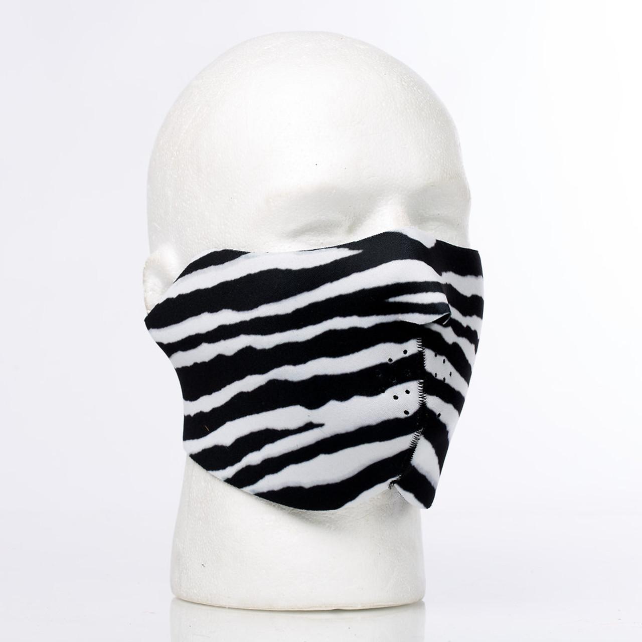 Zebra Neoprene Half Face Mask