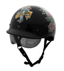 DOT Polo Jockey Black Lady Rider Motorcycle Helmet