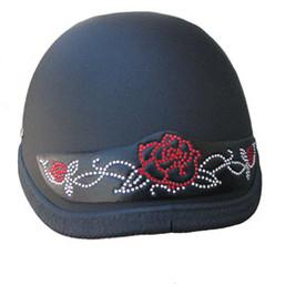 Red Rose Rhinestone Motorcycle Helmet Patches