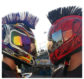 Multi Colored Motorcycle Helmet Mohawk picture e-mailed to us from Jake Epstein