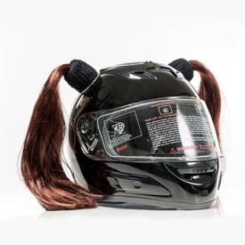 Brown Motorcycle Helmet Pigtails