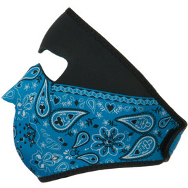 Blue Paisley Bandanna Neoprene Face Mask Left Side