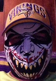 Bill Loves his Vampire Neoprene Face Mask and  the Vikings.