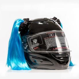 Blue Motorcycle Helmet Pigtails