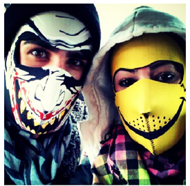 Smiley Neoprene Face Mask in action
