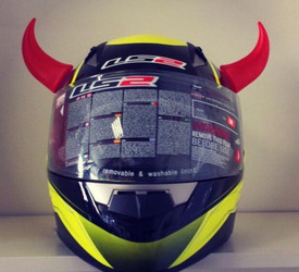 Red Rubber Motorcycle Helmet Horns