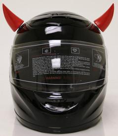 Red motorcycle helmet horns