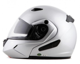 DOT Double Retractable Visor Silver Modular Motorcycle Helmet