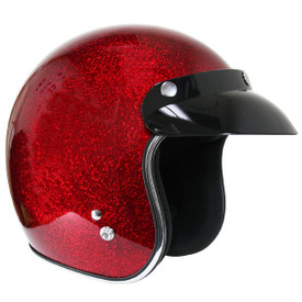 Retro Wine Metal Flake Open Face Motorcycle Helmet